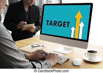 Businessman Success Increase GROWTH TARGET EARNINGS QUALITY Improve Your Skills and Make things better to Improvement Arrow up