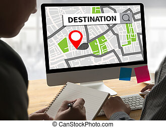 Route Way Route  City Map Destination Route NAVIGATION  gps  ,   using  system , female hands holding a smart  , The navigation software is on your phone.