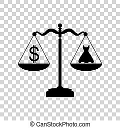 Dress and dollar symbol on scales. Black icon on transparent bac