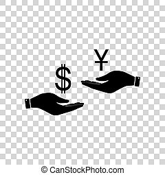 Currency exchange from hand to hand. Dollar and Yuan. Black...