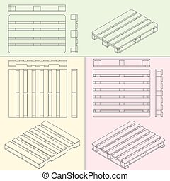 hand fork lift truck and pallet isometric outline drawing -...