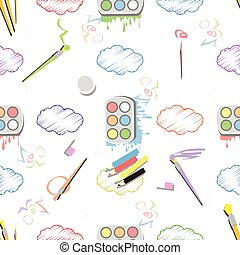 paint with a brush and clouds. seamless pattern
