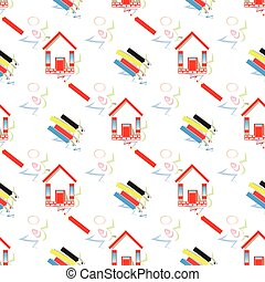 pencils and home. seamless pattern