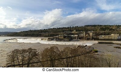Time lapse of clouds and sky over Willamette Falls in Oregon City after heavy rainfall