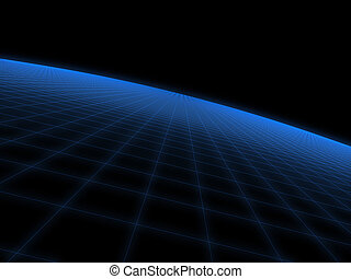 digital world - 3d rendered illustration of a blue...