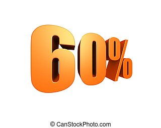 60 % - 3d rendered illustration of a golden number