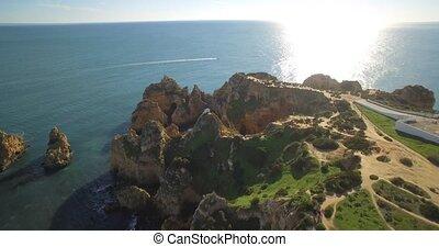 ponta,  portugal,  Lagos, Luftaufnahmen,  da,  Farol,  piedade, Höhlen
