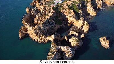 Aerial, Caves At Farol Da Ponta Da Piedade, Lagos, Portugal...