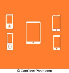 Mobile phones white on an orange background. Vector...
