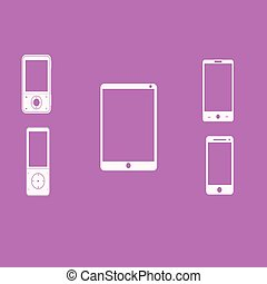 Mobile phones white on a pink background. Vector...