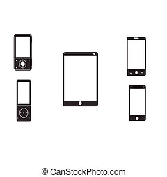 Mobile phones and tablets on a white background. Vector...