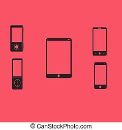 Mobile phones and tablets on a red background. Vector...