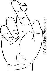 hand with crossed fingers of vector illustration