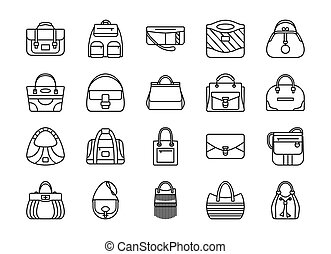 Set of contour line icon. Different women bags. Vector...