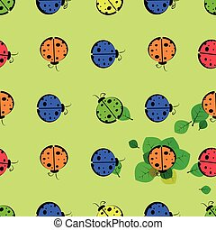 God ladybug on a leaf. seamless pattern. children s...