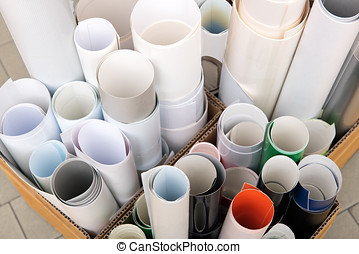 Paper rolls in boxes