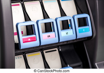 Printer inks mechanism - Close-up view of professional wide...
