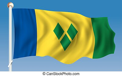 Flag of Saint Vincent and Grenadines - vector illustration