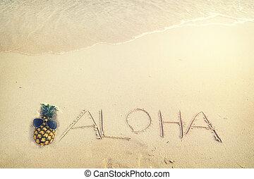 aloha - Inscription Aloha written on the sandy beach with...