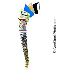 books - 3d rendered illustration from a tower of booksl...