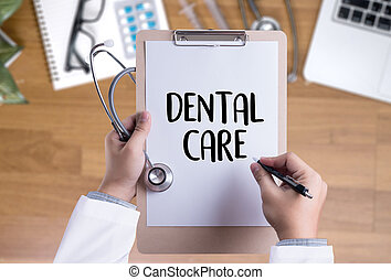 DENTAL CARE Beautiful woman with toothbrush  , Healthy smile and a dentist