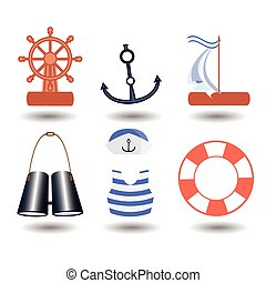 ship elements on a white background. children s...