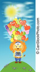 Lion with a lot of balls. children s illustration