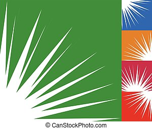 Starburst, sunburst background element in 5 color. Flash, blast shape with random, irregular lines