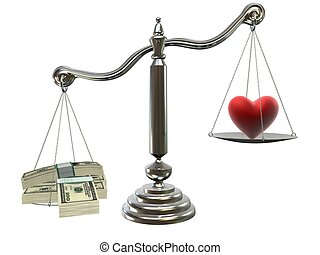 love or money - 3d rendered illustration of a scale with...