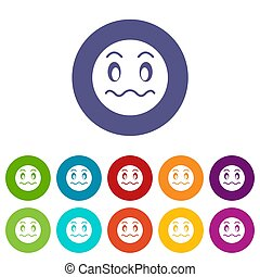 Suspicious emoticon set icons in different colors isolated...