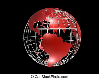metal globe - 3d rendered illustration of a red metal globe