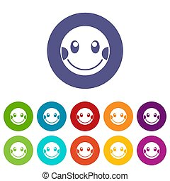 Embarrassed emoticon set icons in different colors isolated...
