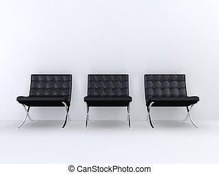 designer chair s - 3d rendered illustration of black leather...