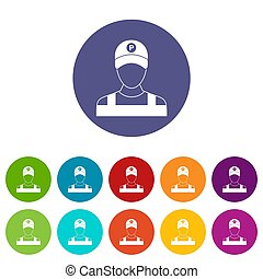 Parking attendant set icons in different colors isolated on...