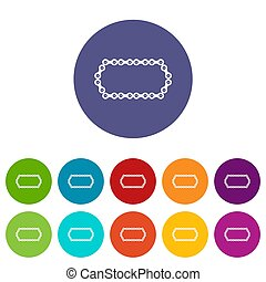 Bicycle chain set icons in different colors isolated on...