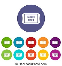 Parking ticket set icons in different colors isolated on...