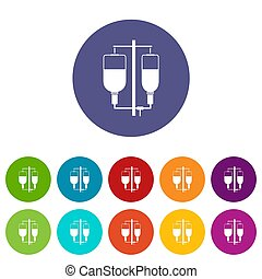 Intravenous infusion set icons in different colors isolated...