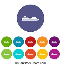 Cruise liner set icons in different colors isolated on white...