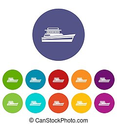 Great powerboat set icons in different colors isolated on...