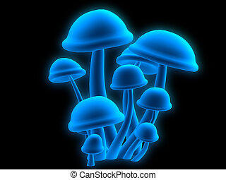 magic mushrooms - 3d rendered illustration of abstract blue...