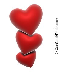 red hearts - 3d rendered illustration of three red hearts