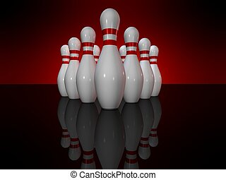 bowling pins - 3d rendered illustration of white bowling...