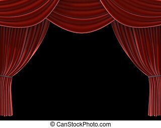 red curtain - 3d rendered illustration of a red theatre...