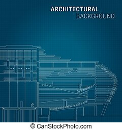 Architectural background. Technical line drawing on blue...