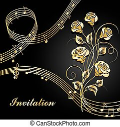 Gold roses with music notes. - Vector illustration with gold...