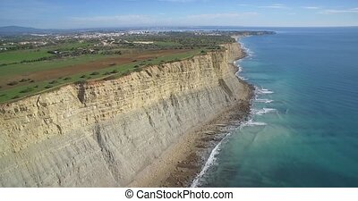 Aerial, Steep Cliff Line At Faro, Portugal - Native...
