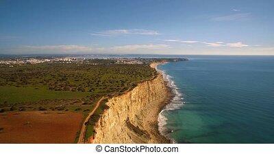Faro,  portugal, Luftaufnahmen, linie, steil, felsformation
