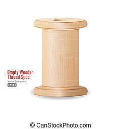 Empty Wooden Thread Spool. Classic Old Bobbin. Isolated On...