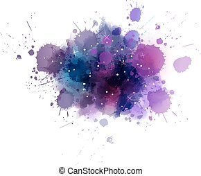 Galaxy background - Multicolored watercolor imitation cosmos...