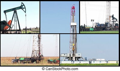 oil drilling rig and workers split screen